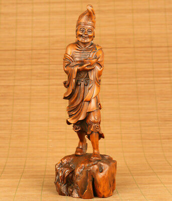 antique old boxwood handmade fortune bring monkey ji gong statue collectable