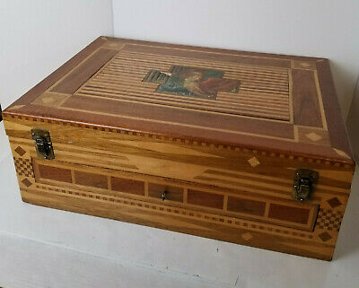 Antique Inlaid Jewelry Document Travel Box with drawer Velvet Lined 22 x 16 x 8