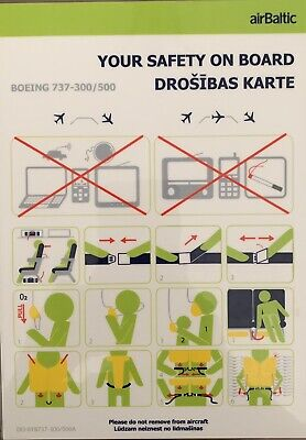 AIR BALTIC Boeing 737-300/ 500 Safety Card , VERY Rare !