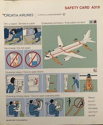 CROATIA 🇭🇷 AIRLINES LAST version Safety Card AIRBUS A 319