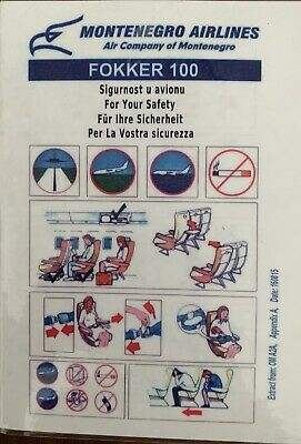MONTE NEGRO Airlines Fokker 100 Safety Card Almost New ,