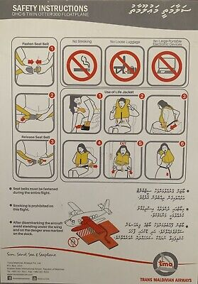 TRANS MALDIVIAN AIRLINES DHC -6 Twin Otter version Safety Card Very Rare