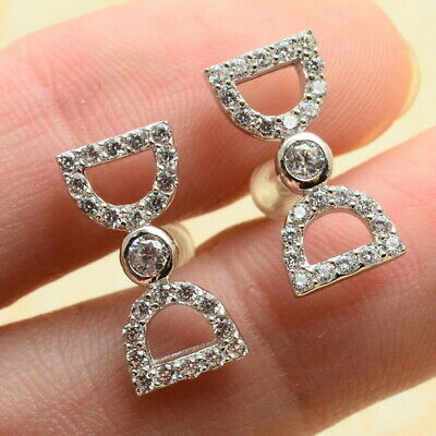 Bowknot Faceted Clear Cz 100% Solid 925 Sterling Silver Stud Earrings 1/2""
