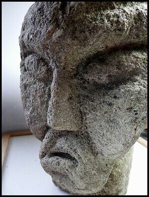 Extremely Rare Celtic Iron Age Carved Stone Totem Head – Head Hunting Cult