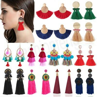 Fashion Women Bohemian Jewelry Elegant Crystal Tassel Long Earrings Drop Dangle
