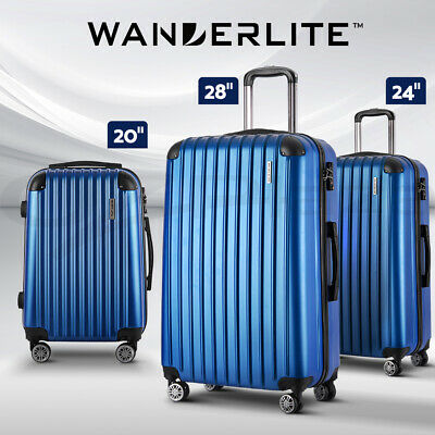 【20%OFF$95】3pc Luggage Sets Suitcases Set Travel Hard Case Lightweight Blue