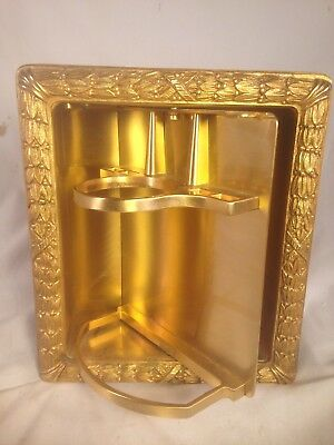 22K Gold Finish Sherle Wagner Inset Toothbrush & Cup Holder Ribbon & Reed X