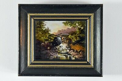 Vintage Miniature Oil Painting By Fred Gruizinga MAA USM Cascade In The Woods
