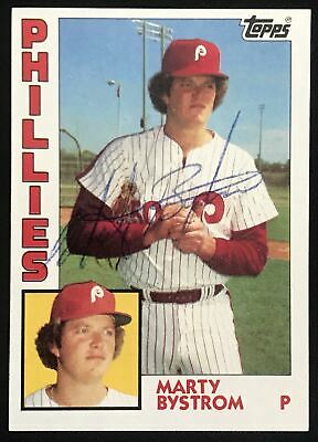1984 Topps Marty Bystrom Phillies #511 Signed Baseball Card NM-MT AUTO DJR COA
