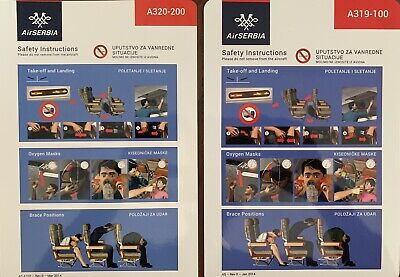 AIR SERBIA 🇷🇸 Safety Card AIRBUS A 319 Safety Card , Good Condition