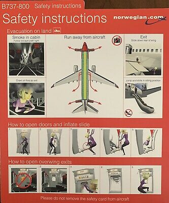 NORWEGIAN AIRLINES Boeing 737-800 Safety Card , Good Condition