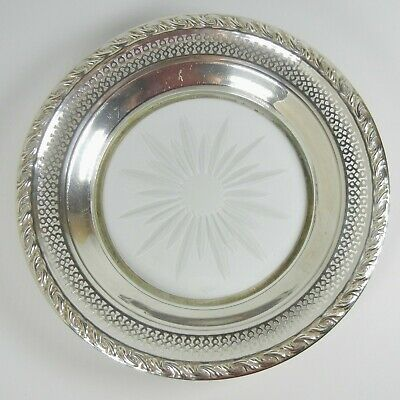Vtng Amston Embossed Sterling Silver Etched Glass Design Candy Nut Dish serving