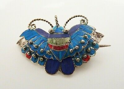 Antique Chinese kingfisher feather butterfly brooch, signed, silver?, tian-tsui