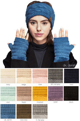 Jinscloset C.C Trending Winter Knitted Fingerless with Sherpa Lining Gloves