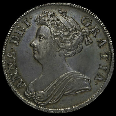 1708 Queen Anne Early Milled Silver Septimo Half Crown, G/EF