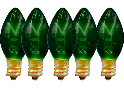 C-7 Green Clear Twinkle Light Bulbs - Brand New 1 Box Of 25 C7 E12 Christmas