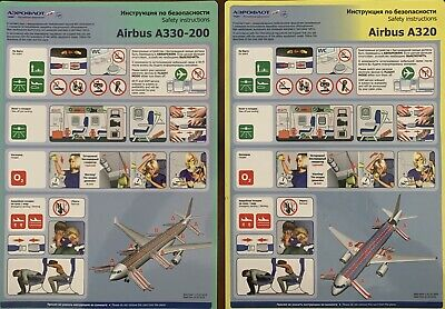 AEROFLOT Airbus A330-200 / Airbus A320 Safety Cards !