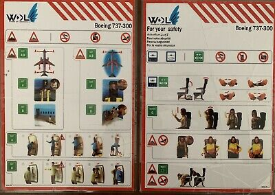 WINGS OF LEBANON  Boeing 737-300 Safety Card, EXTREMELY RARE