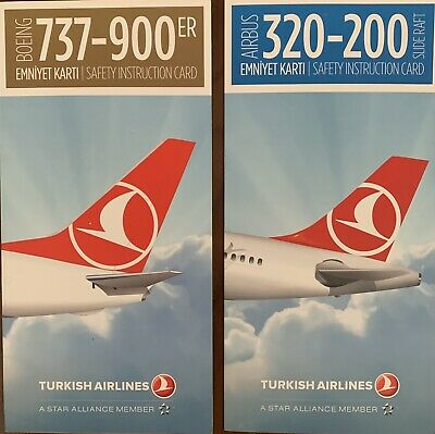 TURKISH AIRLINES  🇹🇷 BOEING 737-900 / Airbus A320 -200 Safety Card , Mint
