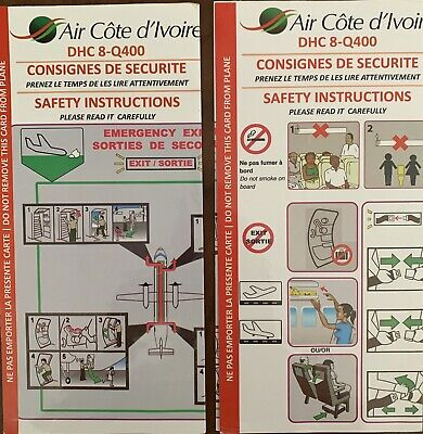 Air Côte d'Ivoire DHC -8-Q 400  Safety Card, EXTREMELY RARE ..... One Of a Kind