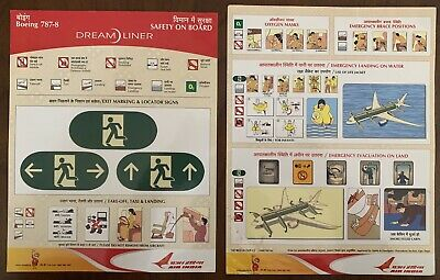 Air INDIA Boeing 787-800 Safety Card, EXTREMELY RARE ..good Condition , But Used