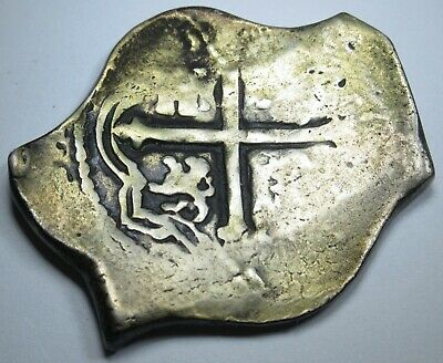 1600's Spanish Silver 4 Reales Piece of 8 Real Colonial Pirate Treasure Cob Coin