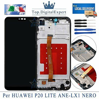 LCD Display Huawei P20 Lite ANE-LX1 Touch Screen Schermo Nero Assembly + Frame