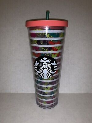 Starbucks Flowers Reusable Tumbler Cold Drink 24OZ Venti Cup NEW STRAW