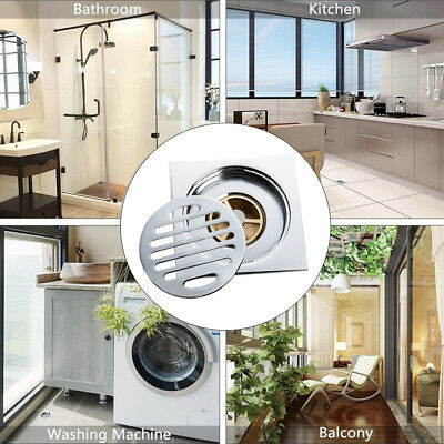 100mm Square Round Stainless Steel Tile Insert Floor Drain Shower Grate Waste+
