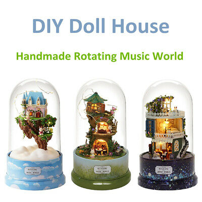 DIY Music Small Doll House Miniature Kit Rotating Box With Dust Cover Kids