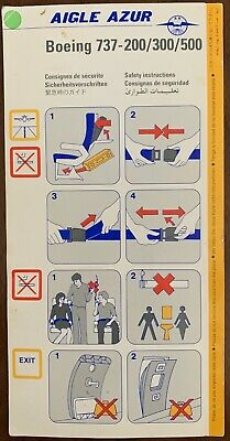 AIGLE AZUR 🇫🇷  BOEING 737 -200-300-500 Safety Card, Very Rare