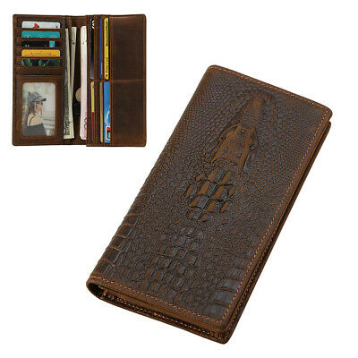 Real Leather RFID Long Wallet Men Bifold Slim Cards Tickets Holder Purse Clutch