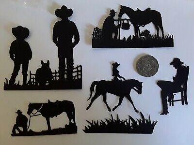 🤠  6 F x COUNTRY AND WESTERN COWBOYS DIE CUTS ~210 gsm Card