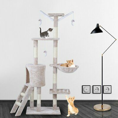 Deluxe Cat Tree Sisal Scratching Post Kitten Scratcher Nest Tower High - Beige