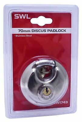 Stainless Steel Heavy Duty 70mm Discus Padlock Waterproof Shackle Shed Lock