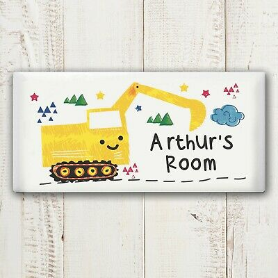 -:- Digger Ceramic Door Plaque -:- PERSONALISED GIFT - Birthday, Any Occasion...