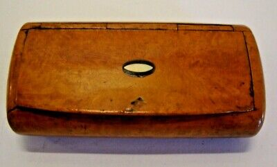 Antique early Victorian brown shell lined burr walnut snuff box