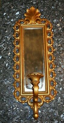 Vtg 1972 Ornate Smoked Glass Mirrored Candle Holder Wall Sconce Gold