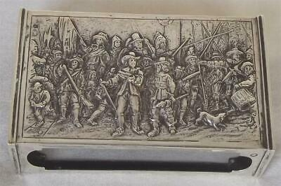 A  Large Solid Silver Dutch Matchbox Holder The Night Watch Scene By Rembrandt.