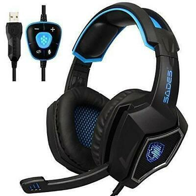 SADES Wolf 7.1 Surround Sound Stereo Over-the-Ear Noise Isolating USB Gaming H..