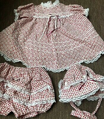 Handmade Red White Daisies Lace Dress Bonnet Panties Baby Girl 6-12 Mts Gingham
