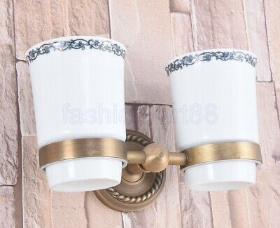 Antique Brass Bathroom Wall Mounted Toothbrush Holder Double Ceramic Cup fba222