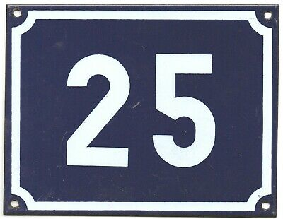 02477dba3a75 Large old blue French house number 25 door gate plate plaque enamel steel  sign