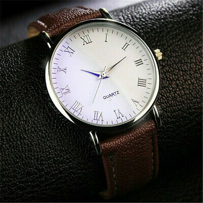 Men's Casual Watch Faux Leather Quartz Analog Luxury Business Wrist Watches Gift