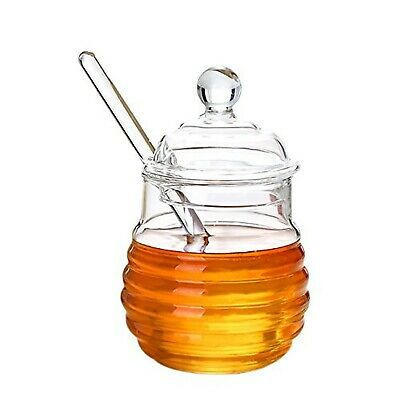 ITIKKY Honey Pot Jar with Dipper and Lid Borosilicate Glass Beehive Style 9.5...