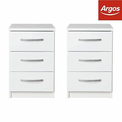 Argos Home New Hallingford 2 Bedside Chests - White Gloss