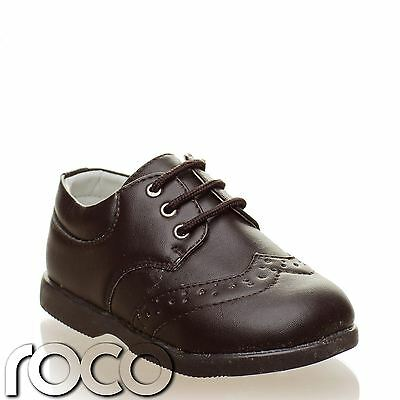 Baby Boys Brown Brogues Lace Up Formal Shoes Flexible Sole Infant 1-8
