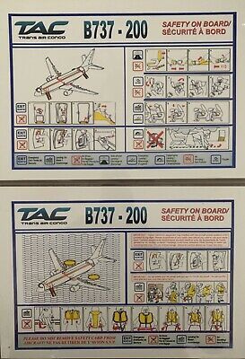 TRANS AIR CONGO Boeing 737-200 Safety Card, EXTREMELY RARE ..... One Of A Kind