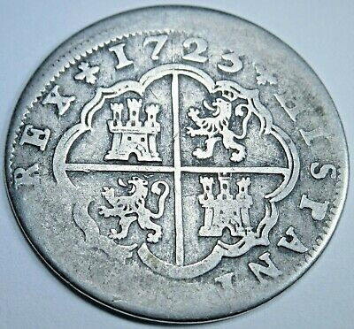 1723 Spanish Silver 2 Reales Piece of 8 Real Colonial Era Two Bits Pirate Coin