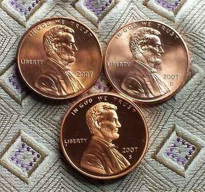 2007-P/D + S PROOF Lincoln Memorial  Cent's  ( 3 COIN'S ) ( ITM#8503 )